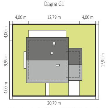 Dagna - Sytuacja - wersja domu z garażem jednostanowiskowym