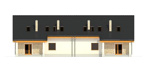 Alka z garażem 1-st. bliźniak A-BL1 - Elewacja tylna
