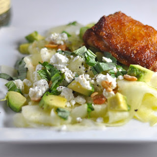 Chicken Thighs and Zucchini Ribbon Salad.