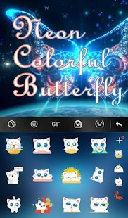 Neon Colorful Butterfly Keyboard Theme apk screenshot 4