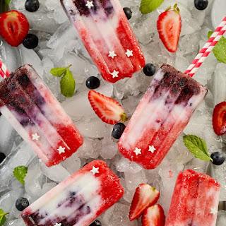 Berry Coconut Yogurt Popsicles (Patriotic Fruit Popsicles )