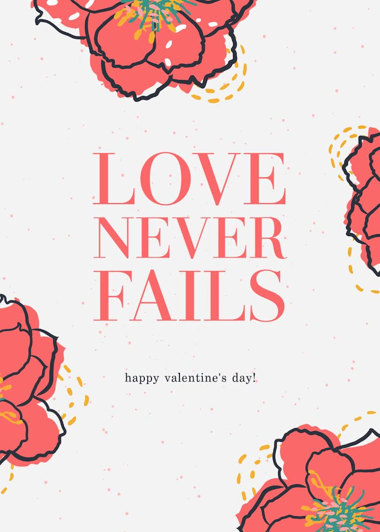 Love Never Fails - Valentine's Day Card Template
