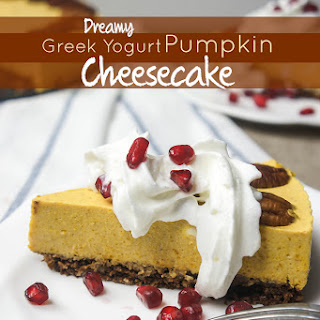 Pumpkin Greek Yogurt Cheesecake with Gingersnap Crust