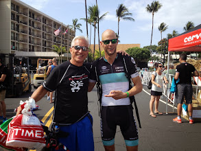Photo: Top pro and  good friend Dirk Bockel  took the time and was right there to greet me at bike check-in.  He was surrounded by press and still was kind enough to share a moment.