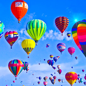 Mass Ascension, NM by Sandy Friedkin - Transportation Other ( hot-air, sky, colors, primary, baskets, balloons, people,  )