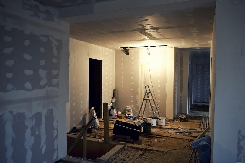 Wnętrze wykończone płytami gipsowo-kartonowymi