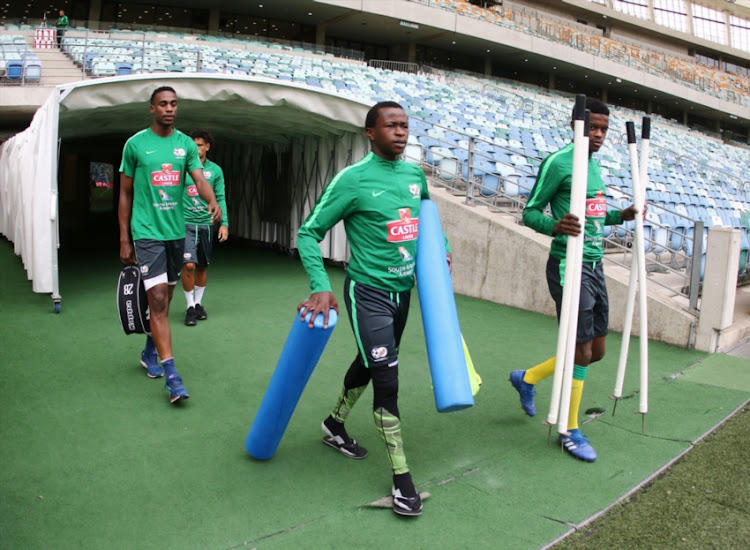 Siphesihle Ndlovu during the South African national mens soccer team training session at Moses Mabhida Stadium on September 07, 2018 in Durban, South Africa.