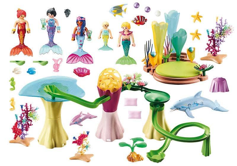 Contenido Real de Playmobil® 70094 Cala de Sirenas con Cúpula Iluminada