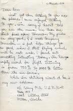 Photo: NavCAD Patrick Alonzo Tillery letter home from flight school 3/1954