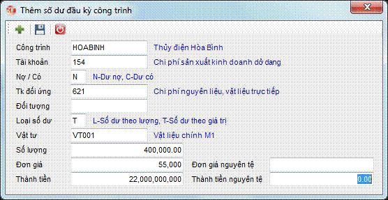 Số dư đầu kỳ công trình phần mềm kế toán 3tsoft
