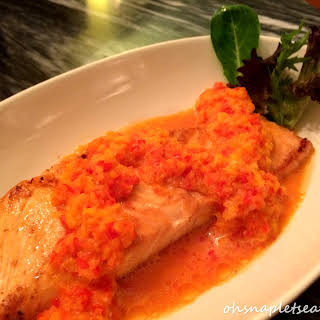 Pan Fried Salmon with Coconut Bell Pepper Puree.