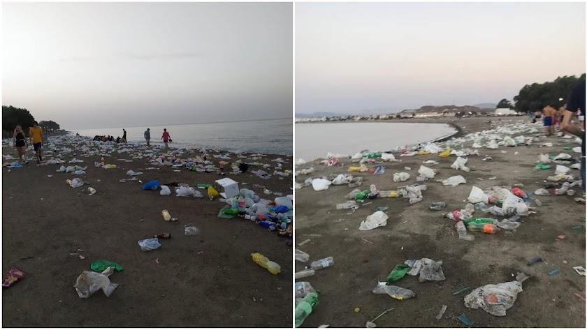 Estado de la playa de Villaricos tras el Dreambeach (Fotos: Rafael Arias).