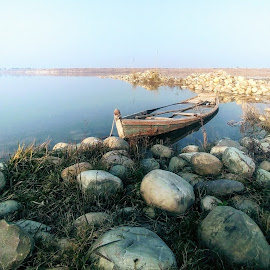 Lone in the River by Waqas Ahmed - Transportation Boats ( pakistan, river jhelum, boat )