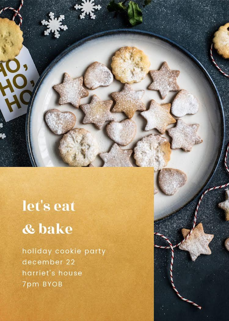 Let's Eat & Bake - Christmas Card Template