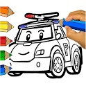 RobotCar Robot Police Paint and Learn Colors icon