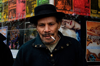 """Photo: Tuffy """"Tuff'n'uff"""" Kimball  #100strangers<2/100>  +100 Strangers Project ~ hosted by +James Finstrom   I almost didn't go out to shoot today, but man I am so glad I did! I came across a group of gentlemen standing outside the Iron Horse Music Hall in Northampton, Ma. I approached and asked if they would mind if I photographed them. They were very pleased and said sure. Two of them, including Tuffy here, were performing in a blues band this evening at this music hall. Tuffy plays the drums and has been doing so for quite some time; he even got to play with Muddy Waters in 1967 during his honeymoon.  I've been finding that most folks really like to have their picture taken and are even flattered that someone takes an interest in them and even asks. I like to engage in conversation with them, most people like to talk about themselves, and it often makes them more comfortable and relaxed."""
