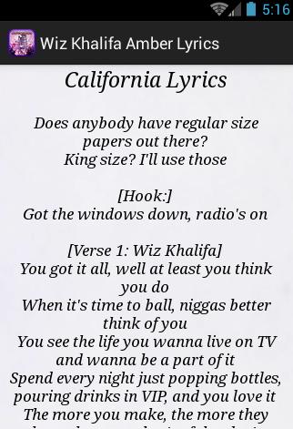 【免費音樂App】Wiz Khalifa Amber Lyrics-APP點子