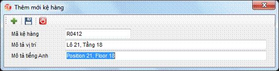 Danh mục kệ hàng phần mềm kế toán 3tsoft
