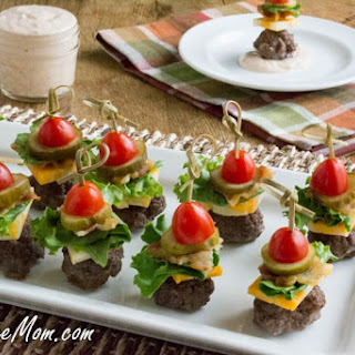 Mini Bun-less Cheeseburger Bites with Thousand Island Dip.