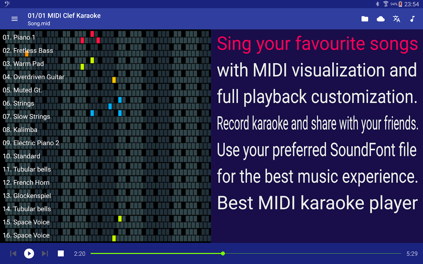 MIDI Clef Karaoke Player- screenshot
