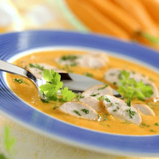 Carrot Bisque with Turkey Pieces.