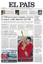 Photo: En la portada de EL PAÍS del 9 de octubre: El FMI prevé para España y Grecia la mayor caída mundial del PIB; La victoria de Chávez reanima la revolución bolivariana; España reduce un 60% su aportación a las becas Erasmus. http://srv00.epimg.net/pdf/elpais/1aPagina/2012/10/ep-20121009.pdf