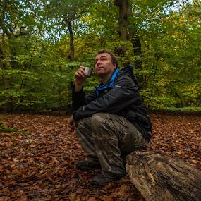Quiet Place by Scott Williams-Collier - People Portraits of Men ( tranquil, nature, trees, woodland, portrait )