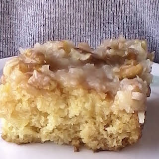 Pineapple Cake with Coconut Pecan Icing.