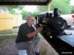 Photo: Clyde Brown getting his steam loco ready to run at a spring meet.    HALS Work Day 2015-0411 RPW