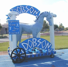 Photo: Dobson High Mascot Float - life size horse - Paper Mache' and chicken wire