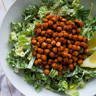 Buffalo Chickpea Caesar Salad [Vegan, Gluten-Free]