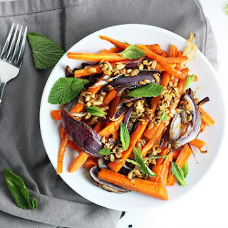 Roasted Carrots and Red Onion with Sunflower Seed Dressing.