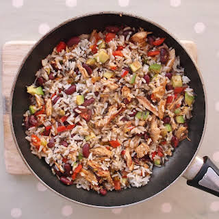 Warm Mexican-Style Rice Salad with Leftover Turkey.