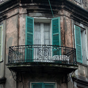 French Quarter by Michael McMurray - Buildings & Architecture Decaying & Abandoned ( railing, new orleans, building, rundown, french quarter, shuttered, stained, sooty, shutter, dirty, moody, wrought iron, dinghy, decaying, balcony )