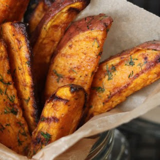 Garlic Dill Sweet Potato Wedges