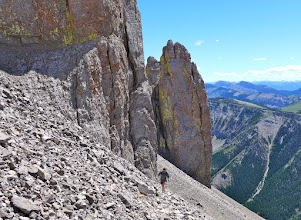 Photo: 2016 - Amy hiking between the couloir and the NE shoulder.
