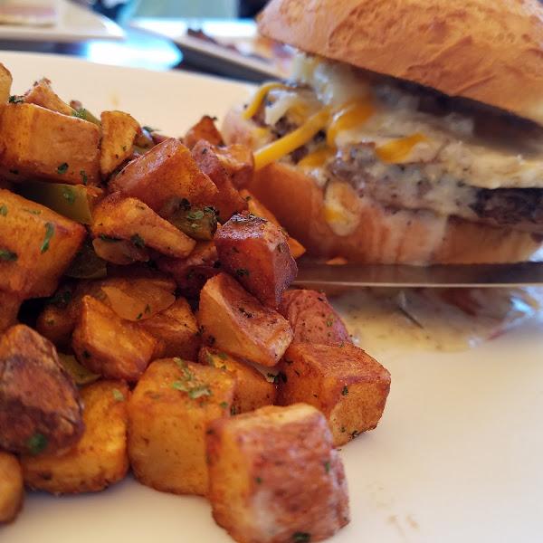 Gf breakfast burger with sausage gravy 😙