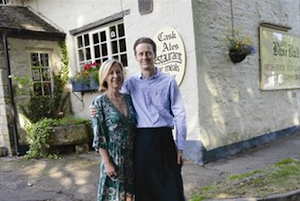 couple standing outside the ball braunston pub