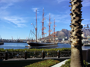Photo: Sedov being pushed to the quay