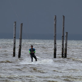 Surfer on sea by Per Holt Oksen-Larsen - Novices Only Sports ( hjerting, surfer, sea, on, by )
