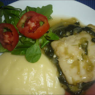 Hake Medallions with Spinach.