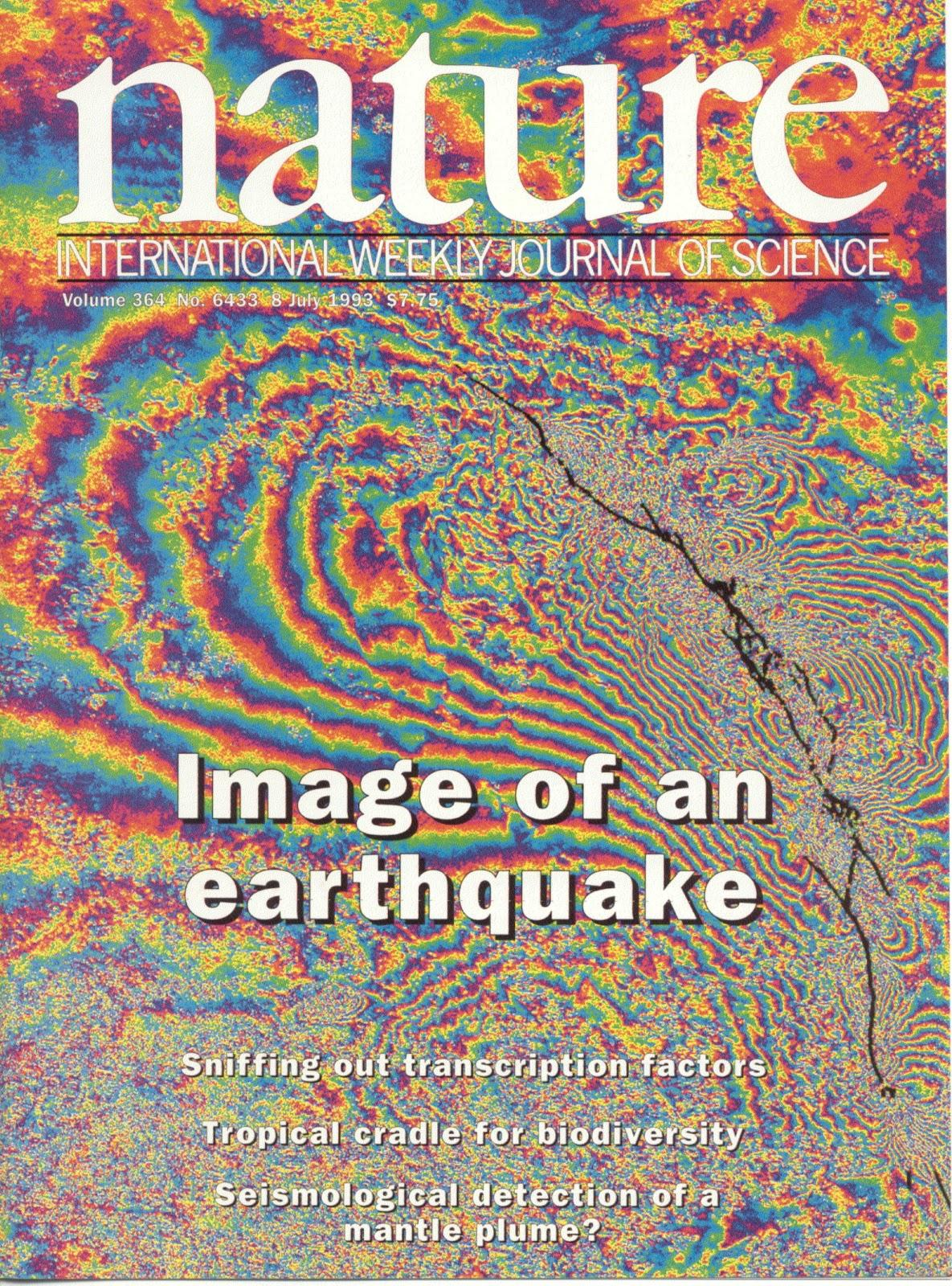 This figure maps the deformation produced by an earthquake. Using InSAR,  Feigl and colleagues in a team led by Didier Massonnet at the CNES space agency in France analyzed images before and after the 1992 Landers earthquake in California. As featured in Nature in 1994, each full cycle of rainbow color indicates a displacement of 28 mm of the Earth's surface. Image Source: Nature Publishing Group