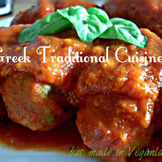 YiaYia's Soutzoukia (Greek ''meatballs'' in tomato sauce) Traditional Greek food but Vegan!!