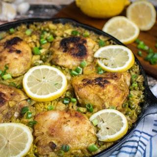One Pot Lemon Garlic Chicken with Yellow Rice