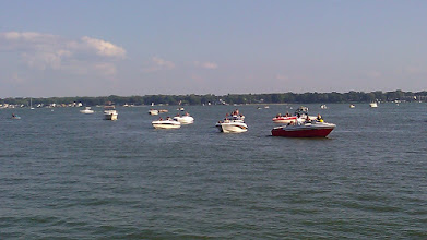 Photo: Boats waiting to get to the ramp.