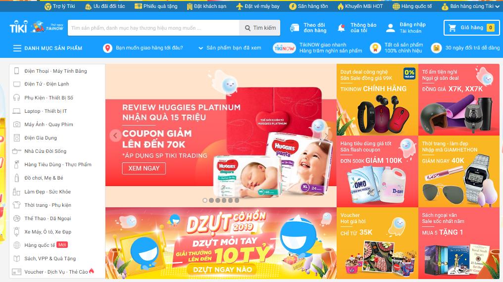 Website thương mại điện tử Tiki