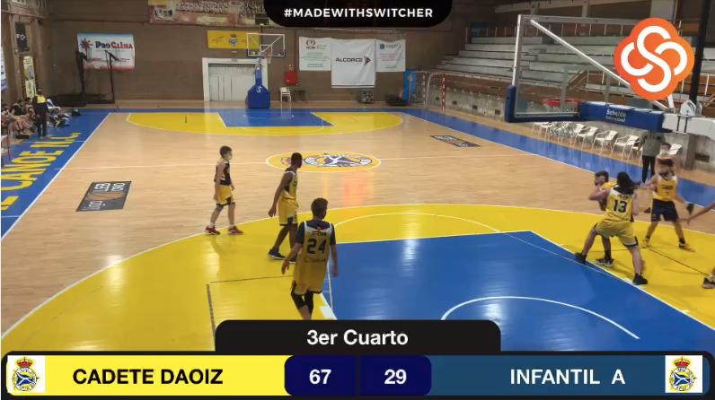 Cadete vs Infantil basketball game.