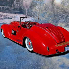 Winter Dream by JEFFREY LORBER - Transportation Automobiles ( dreamer, lorberphoto, rust 'n chrome, 1932, ford, jeffrey lorber, red car )