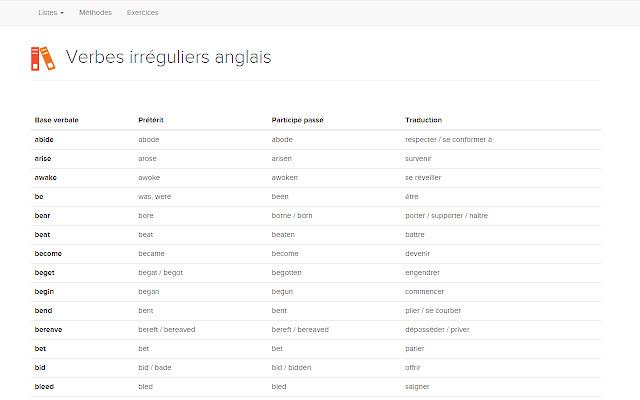 Verbes Irreguliers Anglais