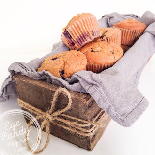 Blueberry-Lemon muffins (wheat-free, low sugar, multigrain, dairy-free, vegan option).